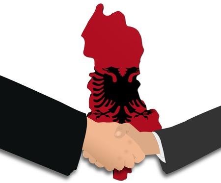 handshake with Albania map flag illustration illustration