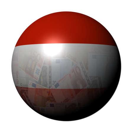 austrian: Austrian Euros flag sphere on white illustration