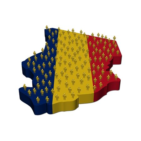 chad: Chad map flag with many people illustration Stock Photo