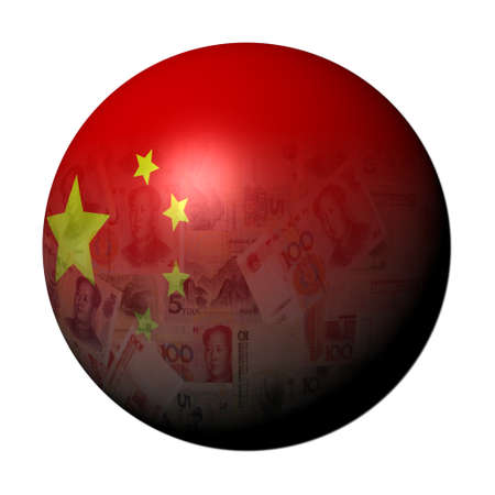 yuan: Chinese yuan flag sphere on white illustration