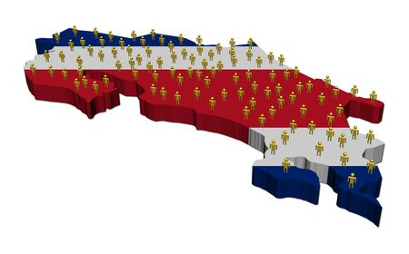 Costa Rica map flag with many people illustration illustration