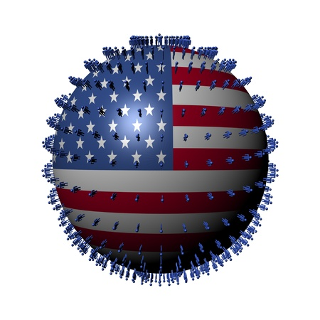 USA flag sphere surrounded by people illustration Stock Illustration - 9543615