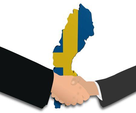 people shaking hands with Sweden map flag illustration Stock Illustration - 9543619