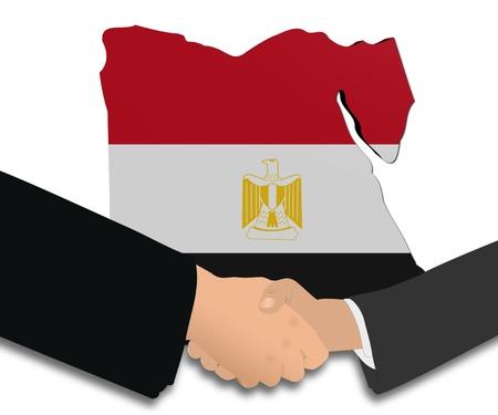 handshake with Egypt map flag illustration illustration