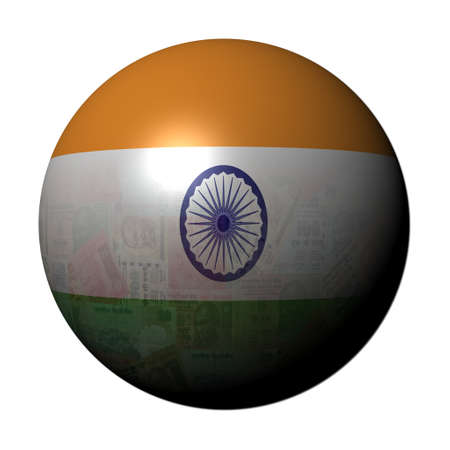 rupees: Indian Rupees flag sphere illustration Stock Photo
