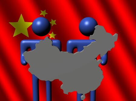 Chinese map: las personas que tienen el que mapa chino firman con bandera