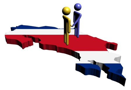 costa rica: meeting on Costa Rica map flag illustration