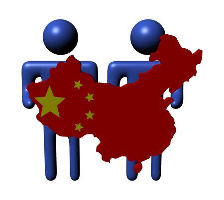 Chinese map: personas con la ilustraci�n de la bandera de China mapa Foto de archivo