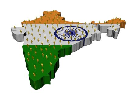 unemployment: India map flag with many people illustration Stock Photo