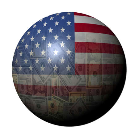 American dollars flag sphere on white illustration Stock Illustration - 9691820