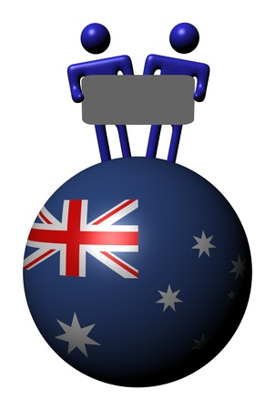 people holding sign: people holding sign on Australian flag sphere