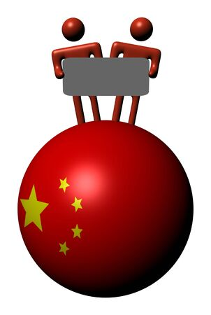 people holding sign: people holding sign on Chinese flag sphere illustration