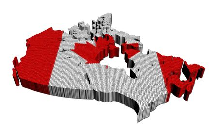 Canada map flag mosaic on white illustration illustration