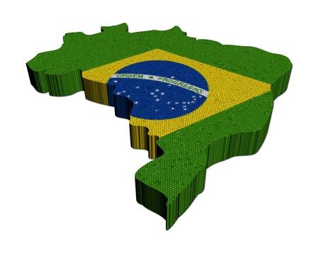 brazilian: Brazil map flag mosaic on white illustration