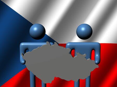 personas con signo mapa checo con ilustraci�n de la bandera Foto de archivo - 9803414