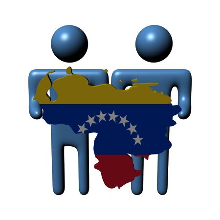 venezuelan: people holding Venezuelan map flag illustration