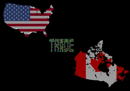 Trade text with USA and Canada map flags illustration illustration