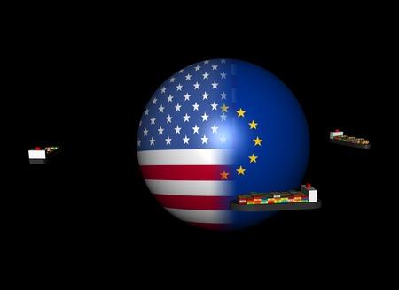 Container ships around USA EU flag sphere illustration Stock Illustration - 9873147
