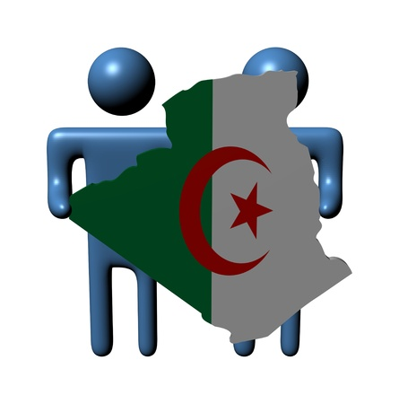 abstract people holding Algeria map flag illustration illustration