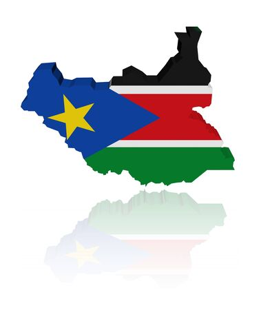 South Sudan map flag with reflection illustration Stock Illustration - 9873156