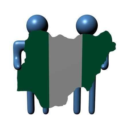 nigerian: abstract people holding Nigerian map flag illustration Stock Photo
