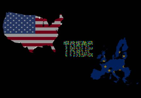 Trade text with USA and EU map flags illustration illustration