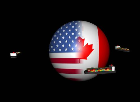 canadian flag: Container ships around USA Canada flag sphere illustration