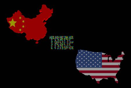 Trade text with China and USA map flags illustration illustration