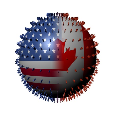 USA Canada flag sphere surrounded by people illustration illustration