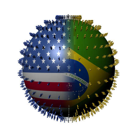 people on usa brazil flag sphere photo