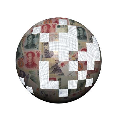 Chinese Yuan sphere with missing pieces illustration illustration