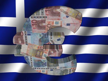 rippled: Euro symbol on rippled Greek flag illustration Stock Photo