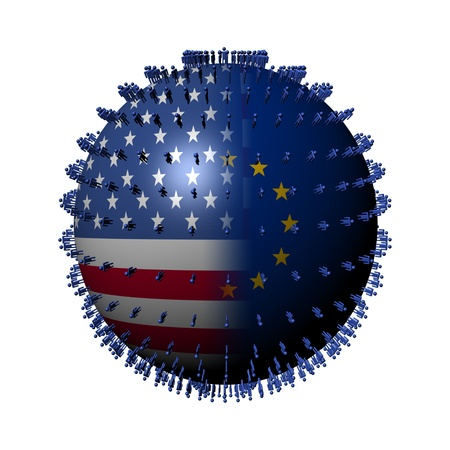 USA EU flag sphere surrounded by people illustration Stock Illustration - 9976292