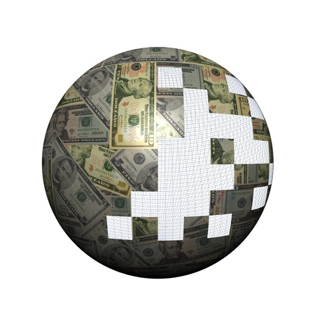 American dollars sphere with pieces illustration illustration