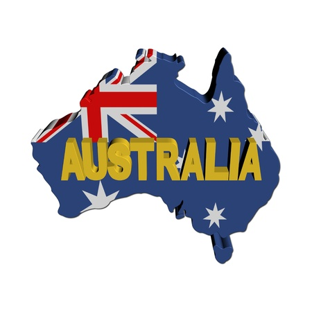 australian: Australia map flag with text illustration