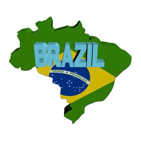 Brazil map flag with text illustration illustration