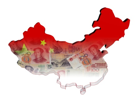 China Kaart vlag met Yuan illustratie Stockfoto