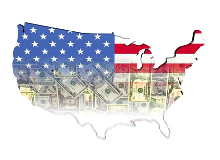 USA Map flag with dollars illustration illustration