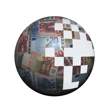 Euros sphere with missing pieces illustration illustration