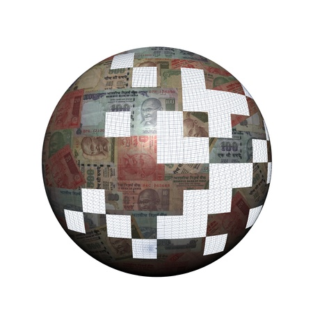 rupees: Indian Rupees sphere with missing pieces illustration