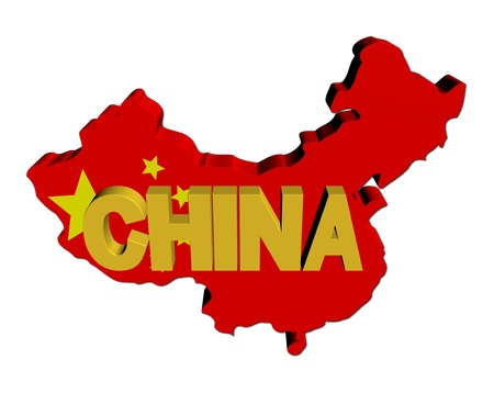 chinese flag: China map flag with text illustration