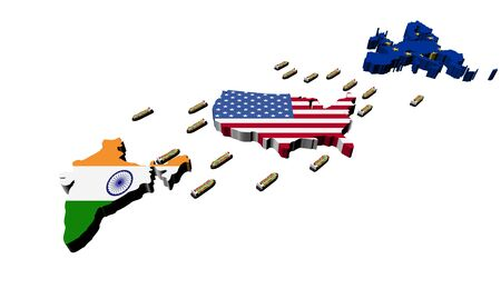 India USA EU trade with container ships illustration illustration