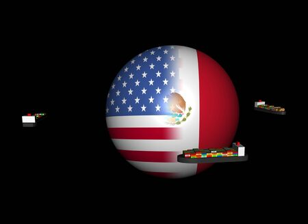 ships and USA Mexico flag sphere illustration illustration