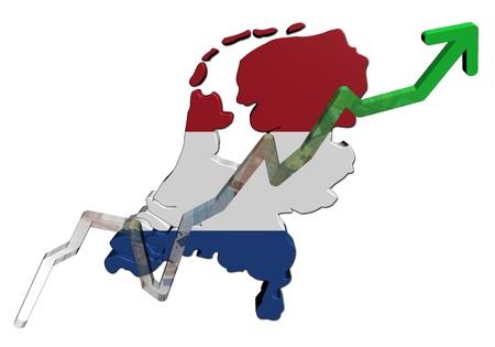 Euros graph on Netherlands map flag illustration illustration