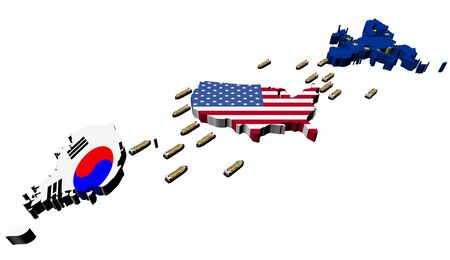 Korea USA EU trade with container ships illustration illustration