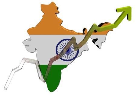 Roepies grafiek op India kaart vlag illustratie