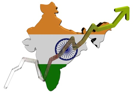 rupees: Rupees graph on India map flag illustration
