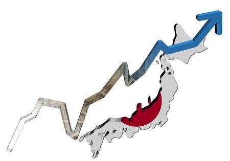 japanese yen: Yen graph on Japan map flag illustration