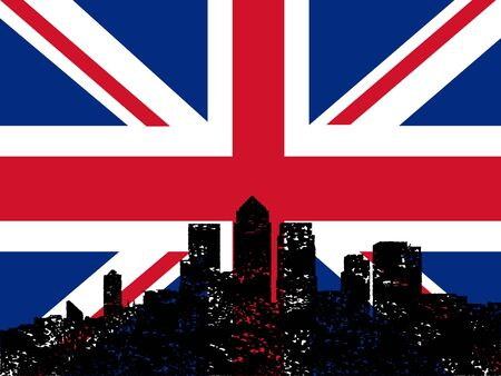 docklands: Grunge London Docklands skyline with flag illustration
