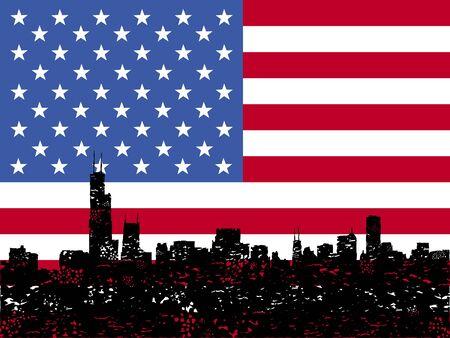 Grunge Chicago skyline with American flag illustration